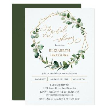 Eucalyptus Greenery Geometric Bridal Shower Invitations