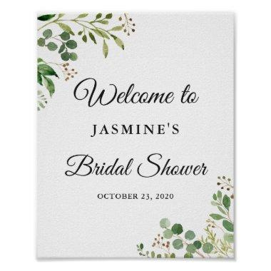 Eucalyptus Greenery Leaves Chic Bridal Shower Sign