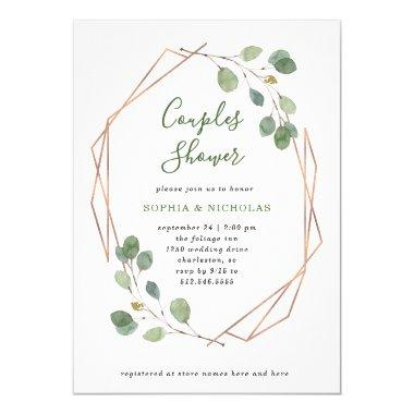 Eucalyptus Greenery | Rose Gold Geo Couples Shower Invitations