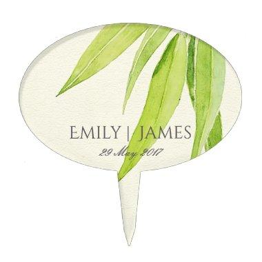 EUCALYPTUS LEAF WATERCOLOUR FOLIAGE MONOGRAM CAKE TOPPER