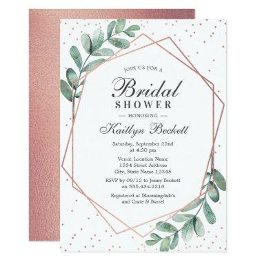 Eucalyptus Rose Gold Geometric Bridal Shower Invitations