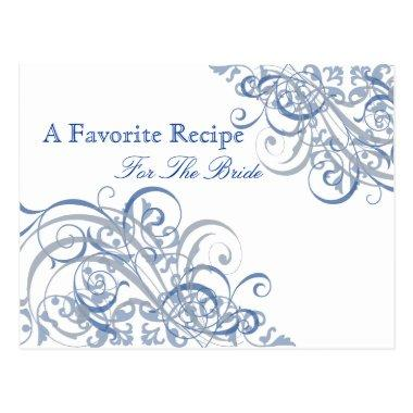 Exquisite Baroque Blue Bridal Shower Recipe Invitations