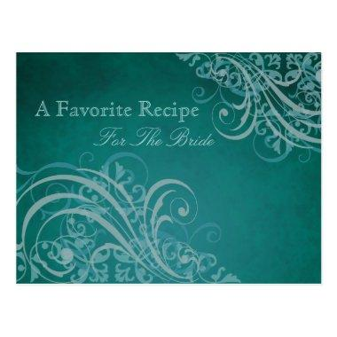 Exquisite Baroque Teal Bridal Shower Recipe Invitations