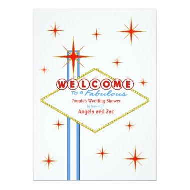 Fabulous Las Vegas Sign Wedding Shower Invitations