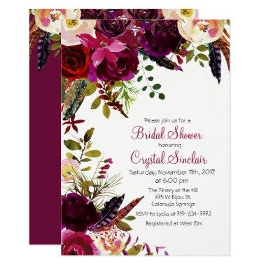 Fall Autumn Floral Bridal Shower Invitations