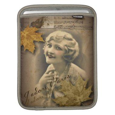 fall autumn leaves vintage gatsby Girl parisian iPad Sleeve