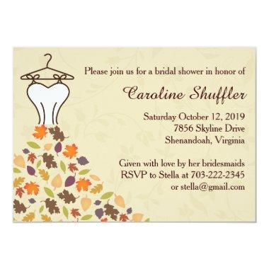 Fall Autumn Leaves Wedding Dress Bridal Shower Invitations