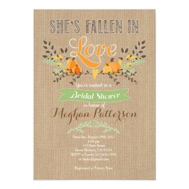 Fall Bridal Shower Invitations with Pumpkin