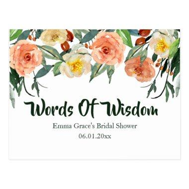 Fall Floral Bridal Shower Words Of Wisdom PostInvitations