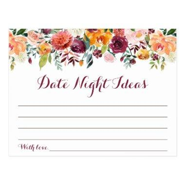 Fall Flower Date Night Ideas Invitations, Orange Maroon PostInvitations