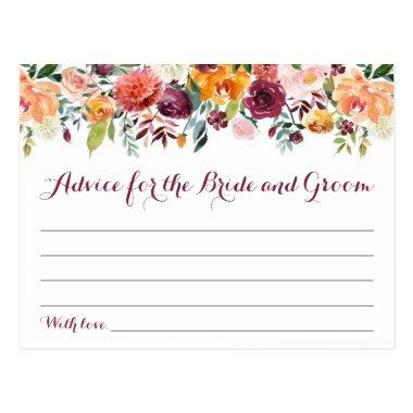 Fall Flower Wedding Advice Cards, Orange Maroon Postcard