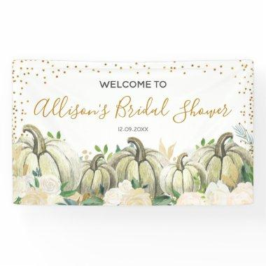 Fall Gold and White Pumpkin Bridal Shower Banner