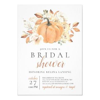 Fall Harvest Pumpkin Bridal Shower Invitations