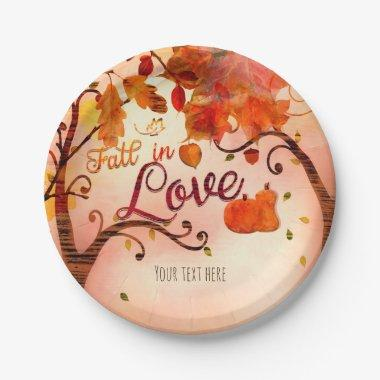 FALL IN LOVE Autumn  Any Event Paper Plate