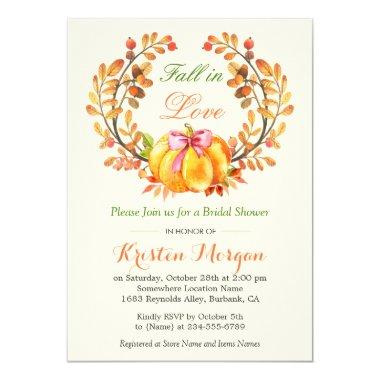 Fall in Love Bridal Shower Autumn Pumpkin Floral Invitations