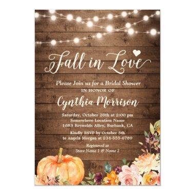 Fall in Love Bridal Shower Rustic Pumpkin Floral Invitations
