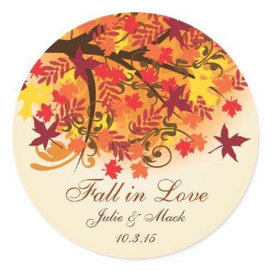 Fall in Love  Wedding Sticker Label