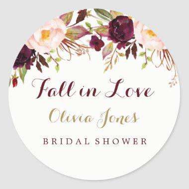 Fall in Love Burgundy Floral  Sticker
