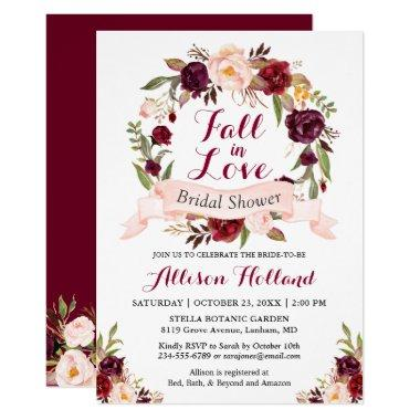 Fall in Love Burgundy Floral Wreath Bridal Shower Invitations