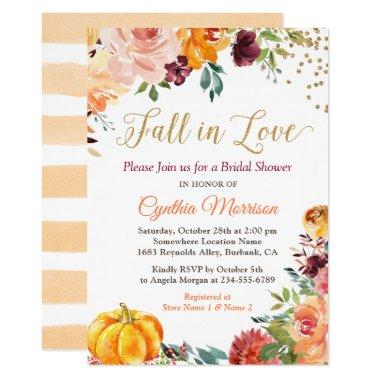Fall in Love Floral Pumpkin Autumn Bridal Shower Invitations