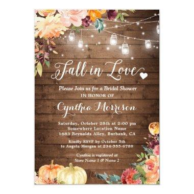 Fall in Love Floral String Lights Bridal Shower Invitations