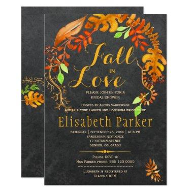 Fall in love gold leaves chalkboard