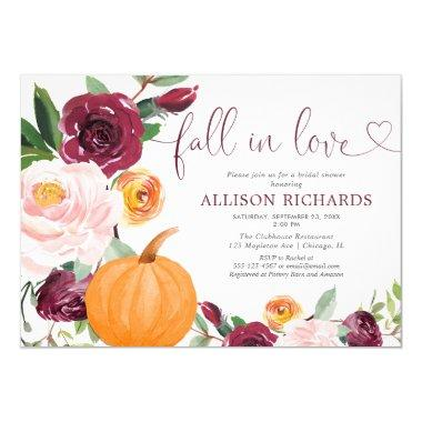 Fall in love pumpkin floral burgundy bridal shower Invitations