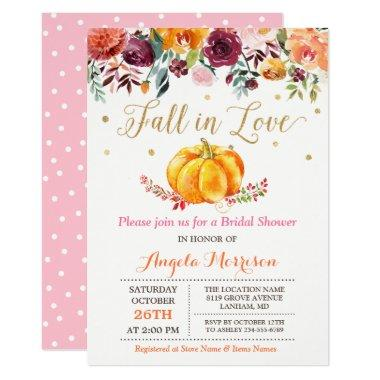 Fall in Love Pumpkin Gold Pink Bridal Shower Invitations