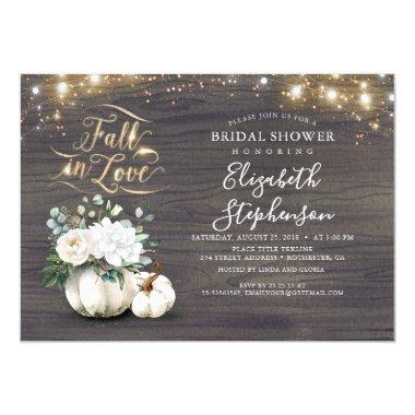 Fall in Love White Pumpkin Rustic Bridal Shower Invitations
