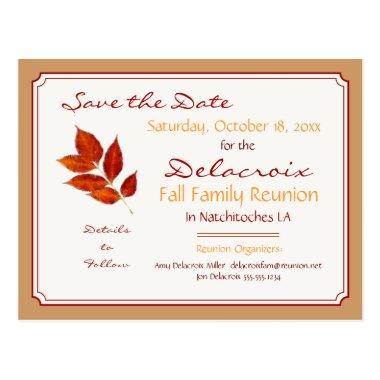 Fall Leaf Family Reunion, Party Save the Date Post