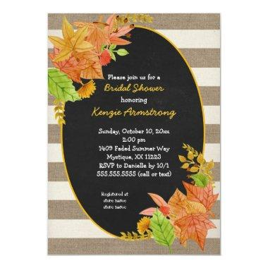 fall leaves and burlap chalkboard bridal shower invitations