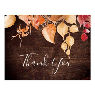 Fall Leaves | Rustic Brown Wood Thank You PostInvitations
