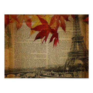 fall leaves Vintage Autumn Paris Eiffel tower Post