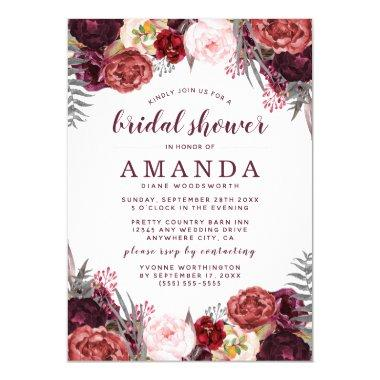 Fall Marsala Blush Peony Bridal Shower Invitations