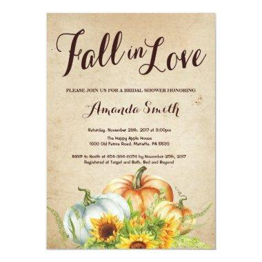 Fall Pumpkin Bridal Shower Invitations