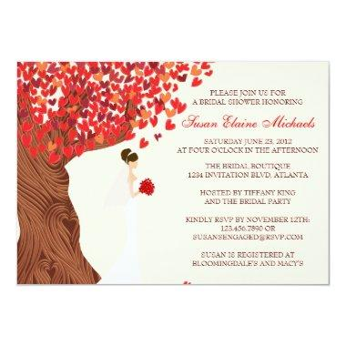 Falling Hearts Oak Tree Fall Bridal Shower Invitations