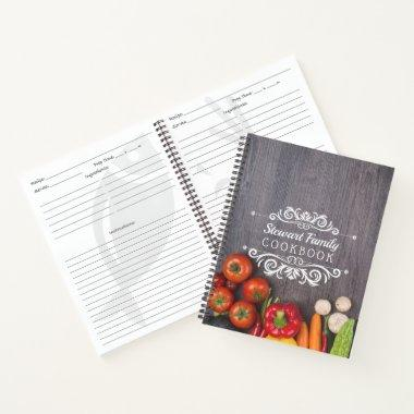 Family Recipes Cookbook Rustic Wood Personalized Notebook