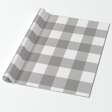 Farmhouse Rustic Grey & White Buffalo Plaid Square Wrapping Paper
