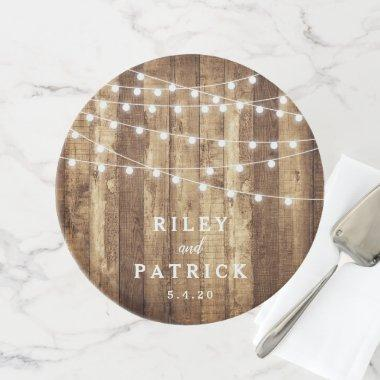 Farmhouse Style Wood & Fairy Light Rustic Wedding Cake Stand