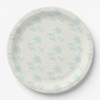 Farmhouse Vintage Floral Cream And Light Blue Paper Plate