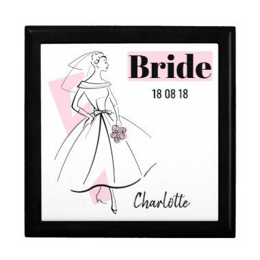 Fashion Bride Pink Bride Date Name gift box