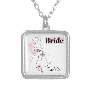 Fashion Bride Pink Bride Name necklace square