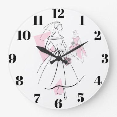 Fashion Bride Pink Group numbers clock round