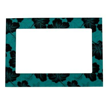 Fashionable Black Floral on Teal Background. Magnetic Photo Frame