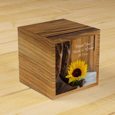 Faux Barn Wood Country Sunflower Western Wedding Favor Box