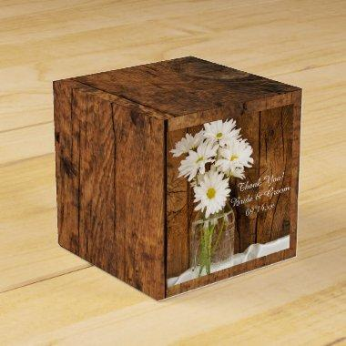 Faux Barn Wood Mason Jar and White Daisies Wedding Favor Box