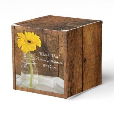 Faux Barn Wood Mason Jar and Yellow Daisy Wedding Favor Box