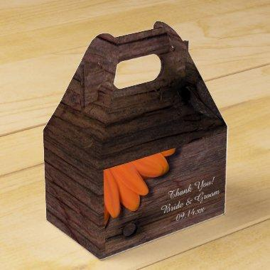 Faux Barn Wood Rustic Orange Daisy Wedding Favor Box
