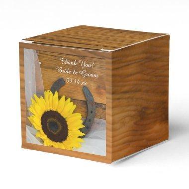 Faux Barn Wood Sunflower Horseshoe Western Wedding Favor Box