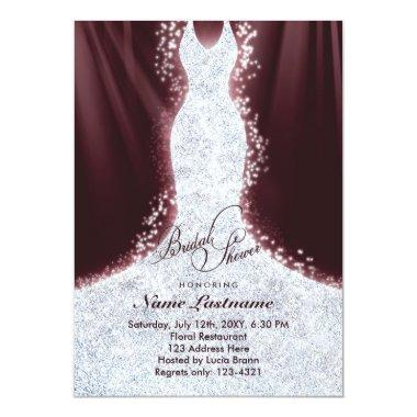 Faux Glitter Diamond Dress Bridal Shower Invite